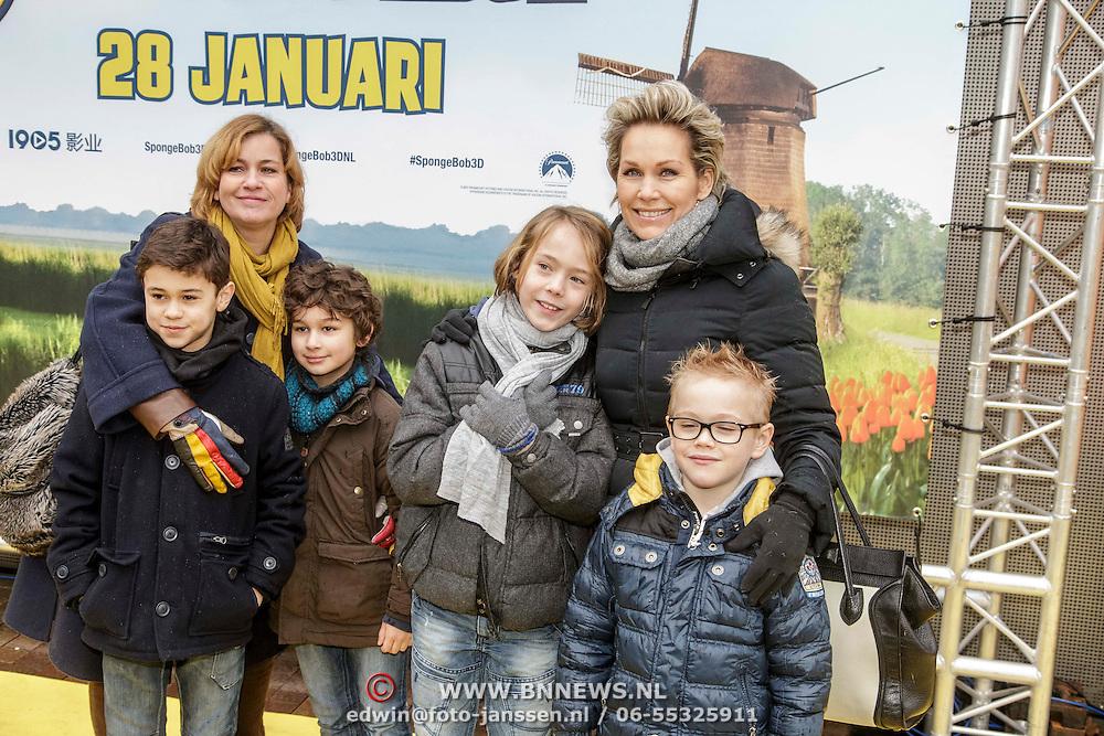 NLD/Amsterdam/20150125 - Premiere Spongebob in 3D - Sponge op het Droge, Tanja Jess en kinderen Billy Charles en Bobby