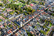 Nederland, Friesland, Gemeente De Friese Meren, 10-10-2014; Joure, Midstraat met Hobbe van Baerdt Tsjerke, Hervormde kerk en toren<br /> Town centre with historical church.<br /> luchtfoto (toeslag op standard tarieven);<br /> aerial photo (additional fee required);<br /> copyright foto/photo Siebe Swart