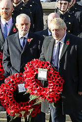 © Licensed to London News Pictures. 10/11/2019. London, UK.Prime Minister Boris Johnson lays a wreath at the Cenotaph memorial in Whitehall, central London during the Remembrance Sunday ceremony. Remembrance Sunday is held each year to commemorate the service men and women who fought in past military conflicts. Photo credit: Dinendra Haria/LNP