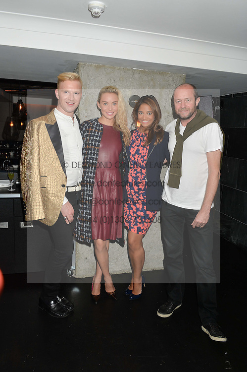 Left to right, HENRY CONWAY, NOELLE RENO, KATY WICKREMESINGHE and SCOT YOUNG at a dinner to celebrate London Fashion Week SS 2015 and the opening of Ramusake at 92 Old Brompton Road, London on 15th September 2014.