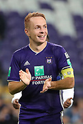 Adrien Trebel celebrates after winning the Jupiler Pro League matchday 4 between Rsc Anderlecht and Excel Mouscron on August 17, 2018 in Brussels, Belgium, Photo by Vincent Van Doornick / Isosport/ Pro Shots / ProSportsImages / DPPI
