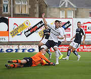 Raith goalkeeper David McGurn lets the ball go under his body for Julen Etxabeguren (left) to score Dundee's second goal - Raith Rovers v Dundee, pre-season friendly at Starks Park<br /> <br />  - &copy; David Young - www.davidyoungphoto.co.uk - email: davidyoungphoto@gmail.com