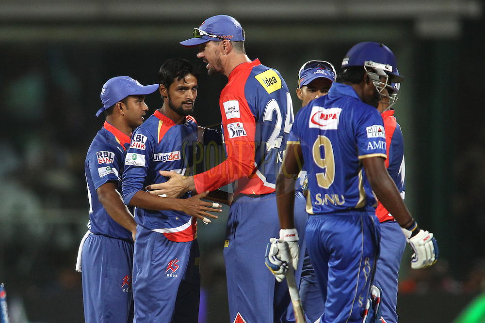 Shahbaz Nadeem of the Delhi Daredevils is congratulated by Kevin Pietersen captain of of the Delhi Daredevils after getting Sanju Samson of the Rajasthan Royals wicket during match 23 of the Pepsi Indian Premier League Season 2014 between the Delhi Daredevils and the Rajasthan Royals held at the Feroze Shah Kotla cricket stadium, Delhi, India on the 3rd May  2014<br /> <br /> Photo by Shaun Roy / IPL / SPORTZPICS<br /> <br /> <br /> <br /> Image use subject to terms and conditions which can be found here:  http://sportzpics.photoshelter.com/gallery/Pepsi-IPL-Image-terms-and-conditions/G00004VW1IVJ.gB0/C0000TScjhBM6ikg
