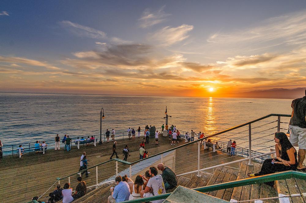 Santa Monica Pier, Sunset, Santa Monica, California