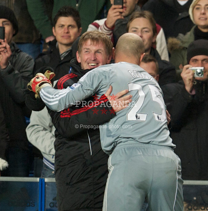LONDON, ENGLAND - Sunday, February 6, 2011: Liverpool's manager Kenny Dalglish celebrates with goalkeeper Jose Reina after his side's 1-0 victory over Chelsea during the Premiership match at Stamford Bridge. (Photo by David Rawcliffe/Propaganda)