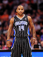 Mar. 13, 2011; Phoenix, AZ, USA; Orlando Magic guard Jameer Nelson (14) reacts on the court against the Phoenix Suns at the US Airways Center. The Magic defeated the Suns 111-88. Mandatory Credit: Jennifer Stewart-US PRESSWIRE