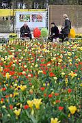 Nederland, Venlo, 11-4-2012De Floriade 2012 is open voor publiek. Veel toeristen uit het buitenland zijn al te vinden op het expositieterrein.Ook ouderen en gepensioneerden waren goed vertegenwoordigd.Floriade is a World Horticultural Expo staged once every ten years in Holland. From April until October 2012, the sixth edition of Floriade is being held in Venlo and is open to the public daily. Visitors to Floriade 2012 have the opportunity to enjoy the most exquisite and exceptional flowers, plants, trees, fruit and vegetables of the world exhibited over 40 hectares, 7.000 m2 of which are indoor flower and plant shows. Expected attendance of Floriade 2012 is 2 million visitors. Foto: Flip Franssen/Hollandse Hoogte