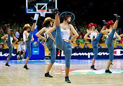 Cheerleaders Zalgiris Dancers during basketball game between National basketball teams of F.Y.R. of Macedonia and Lithuania at Quarterfinals of FIBA Europe Eurobasket Lithuania 2011, on September 14, 2011, in Arena Zalgirio, Kaunas, Lithuania. (Photo by Vid Ponikvar / Sportida)