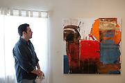 Francisco Postlewaite, painter, at his Galleria Dpto.4 in Mexicali, Mexico...© Stefan Falke.http://www.stefanfalke.com/..