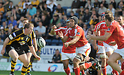Wycombe, GREAT BRITAIN,  Playing No. 8 Natani TALEI, passes the ball, during the Guinness Premiership match,  London Wasps vs Worcester Warriors at Adam's Park Stadium, Bucks on Sun 14.09.2008. [Photo, Peter Spurrier/Intersport-images]