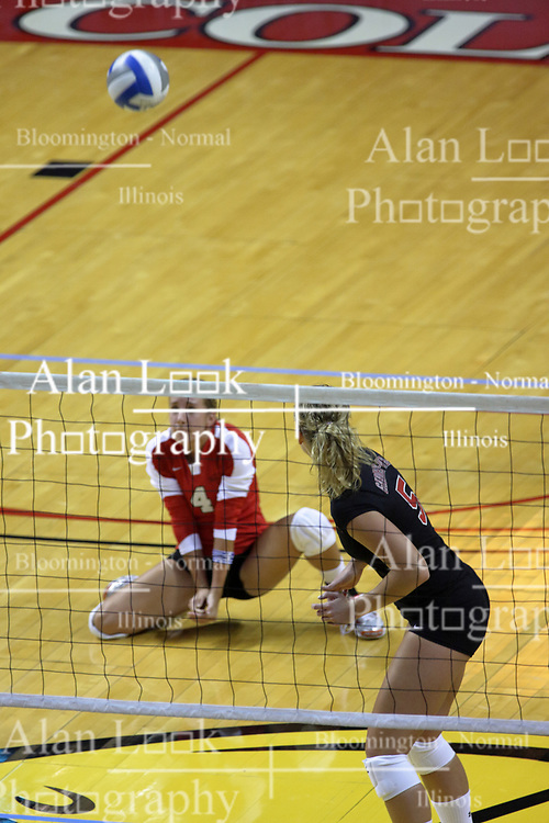 28 AUG 2009: Brett Wilson crouches for a dig with Laura Wilcox watching. The Redbirds of Illinois State defeated the Runnin' Bulldogs of Gardner-Webb in 3 sets during play in the Redbird Classic on Doug Collins Court inside Redbird Arena in Normal Illinois