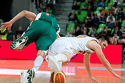 Saso Ozbolt of Union Olimpija vs Goran Ikonic of Krka during second semi-final match of Basketball NLB League at Final four tournament between KK Union Olimpija and Krka (SLO), on April 19, 2011 at SRC Stozice, Ljubljana, Slovenia. (Photo By Matic Klansek Velej / Sportida.com)