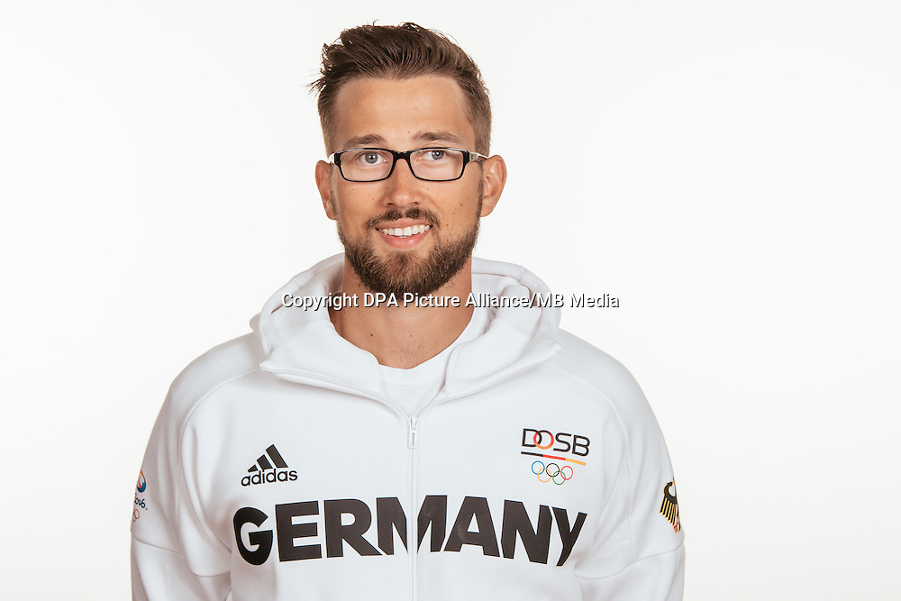 Felix Wimberger poses at a photocall during the preparations for the Olympic Games in Rio at the Emmich Cambrai Barracks in Hanover, Germany, taken on 14/07/16 | usage worldwide