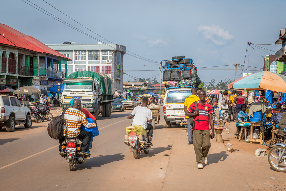 People go about daily task in Ganta, Liberia
