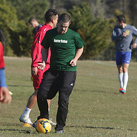 Trialists run drills Sunday February 8, 2015 during tryouts for the Wilmington Hammerheads F.C. (Jason A. Frizzelle)