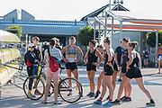 Plovdiv BULGARIA. 2017 FISA. Rowing World U23 Championships. <br /> USA BW8+. coach, Megan COOK CARCAGNO. Talks with her crew.<br /> Friday Boat Area. Boat Racks Pontoons.<br /> <br /> 08:26:47  Friday  21.07.17   <br /> <br /> [Mandatory Credit. Peter SPURRIER/Intersport Images].