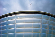 Seagull flies over the Hydro Arena at the Scottish Exhibition and Conference Centre, SECC, venue for the Commonwealth Games in Glasgow, Scotland