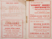 All Ireland Senior Hurling Championship Final,.Brochures,.03.09.1944, 09.03.1944, 3rd September 1944, .Cork 2-13, Dublin 1-2, .Senior Cork v Dublin, .Croke Park, ..Advertisements, Official Green Cross Ceilidhe, Comfit Shoes and Governey's Agricultural Boots Catherlogh Castle Boot Factory Ltd, Mineral Waters and Bottled Drinks Corcoran & Co Ltd, ..List of Former Hurling Champions organized by County and number of finals,