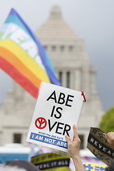 April 14, 2018 - Tokyo, Japan - Anti-Abe protesters gather in front the National Diet Building claiming PM Shinzo Abe's resignation. Organizers claim about 30,000 protesters joined the rally demanding Abe's resignation for the Moritomo Gakuen and Kake Gakuen scandals. (Credit Image: © Rodrigo Reyes Marin/via ZUMA Wire via ZUMA Wire)
