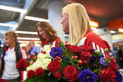 Warsaw, Poland - 2017 October 03: Roses while welcome of Polish Rowing National Team at Chopin Airport on October 03, 2017 in Warsaw, Poland.<br /> <br /> Mandatory credit:<br /> Photo by &copy; Adam Nurkiewicz / Mediasport<br /> <br /> Adam Nurkiewicz declares that he has no rights to the image of people at the photographs of his authorship.<br /> <br /> Picture also available in RAW (NEF) or TIFF format on special request.<br /> <br /> Any editorial, commercial or promotional use requires written permission from the author of image.