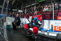KELOWNA, CANADA - NOVEMBER 29: Cal Foote #25 of the Kelowna Rockets sits in the penalty box against the Prince George Cougars on November 29, 2017 at Prospera Place in Kelowna, British Columbia, Canada.  (Photo by Marissa Baecker/Shoot the Breeze)  *** Local Caption ***