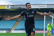 Goal Portsmouth midfielder Gareth Evans (26) celebrates as he scores a goal to make it 0-2 during the EFL Sky Bet League 1 match between Scunthorpe United and Portsmouth at Glanford Park, Scunthorpe, England on 24 November 2018.