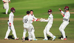 Roelof Van De Merwe of Somerset celebrates the wicket of Michael Lumb with his teammates.  - Mandatory by-line: Alex Davidson/JMP - 22/09/2016 - CRICKET - Cooper Associates County Ground - Taunton, United Kingdom - Somerset v Nottinghamshire - Specsavers County Championship Division One