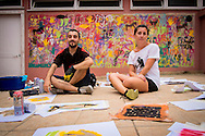 08/09/2015 - Lisbon, Portugal: Founder of Lata 65 project, Lara Seixo Rodrigues, 36, with street artist Adres (Adrião Resende), 33, who helps during the workshops. Lata 65 was project created by Lara Seixo Rodrigues and is a creative workshop teaching street art to senior citizens. (Eduardo Leal)