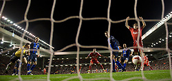 LIVERPOOL, ENGLAND - Tuesday, March 3, 2009: Liverpool's David Ngog scores the opening goal against Sunderland during the Premiership match at Anfield. (Photo by David Rawcliffe/Propaganda)