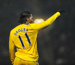 Didier Drogba (Chelsea) signals to his team mates during the Barclays Premier League match between Portsmouth and Chelsea at Fratton Park on March 3, 2009 in Portsmouth, England.