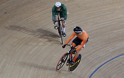 Harrie Lavreysen of Netherlands and Jack Carlin of Great Britain during the Men's Sprint Semi Finals Race 2 during day three of the Tissot UCI Track Cycling World Cup at Lee Valley VeloPark, London.