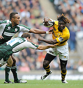 Twickenham, GREAT BRITAIN, Wasps Paul SACKEY tacked by Mike Catt and Sailosi TAGICAKIBAU, during the Guinness Premiership match,  London Irish vs London Wasps, at Twickenham Stadium, Surrey on Sat 06.09.2008. [Photo, Peter Spurrier/Intersport-images]