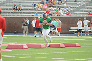 Ole Miss quarterback Bo Wallace runs through a drill during football practice at Vaught-Hemingway Stadium in Oxford, Miss. on Saturday, August 9, 2014.