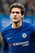 Chelsea (3) Marcos Alonso during the Premier League match between Chelsea and West Ham United at Stamford Bridge, London, England on 8 April 2018. Picture by Sebastian Frej.