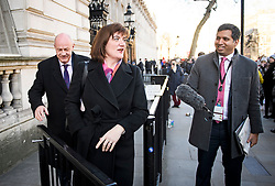 © Licensed to London News Pictures. 28/01/2019. London, UK. Conservative MPs NICKY MORGAN and DAMIAN GREEN are seen leaving Downing Street following a meeting with government. Photo credit: Ben Cawthra/LNP