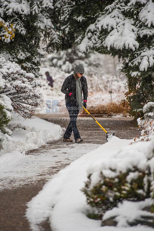 shoveling snow fall snow