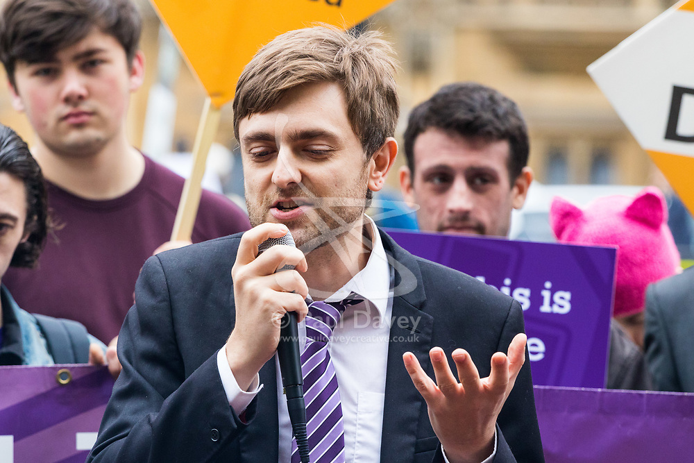 London, October 10 2017. Medical cannabis users from the United Patients Alliance gather at Old Palace Yard with Paul Flynn MP, demanding the decriminalisation of cannabis which they say has proven to be the most successful aid to pain relief, demanding that MPs respect the scientifically proven benefits of THC (tetrahydrocannabinol). PICTURED: Organiser and medical cannabis advocate Clark French addresses the gathering. © Paul Davey