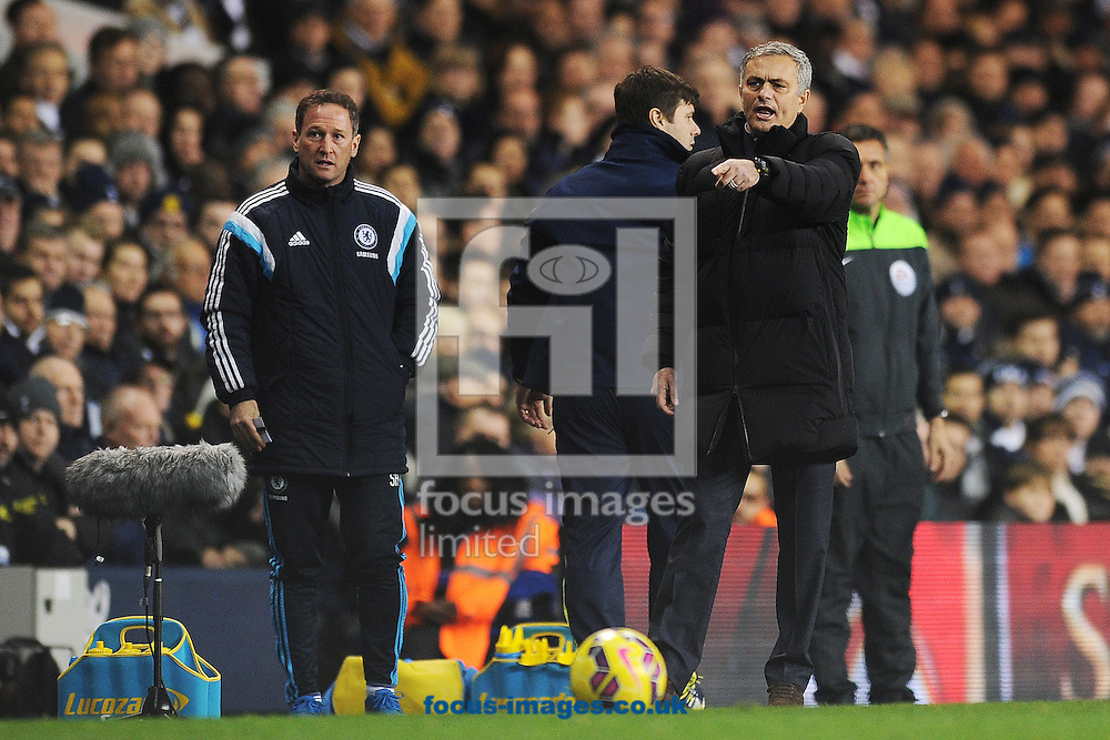 Chelsea Manager Jose Mourinho is unhappy with a decision made by Match Referee Phil Dowd during the Barclays Premier League match between Tottenham Hotspur and Chelsea  at White Hart Lane, London<br /> Picture by Richard Blaxall/Focus Images Ltd +44 7853 364624<br /> 01/01/2015