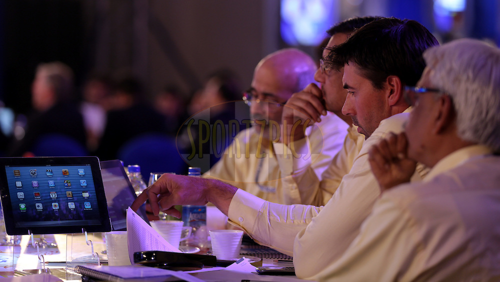 Chennai Super Kings Team during the Pepsi IPL Player Auction held at the ITC Gardenia in Bengaluru, India on the 13th February 2014<br /> <br /> Photo by Sandeep Shetty/BCCI/SPORTZPICS