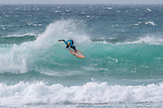 Eveline Hooft (Ndl) during the Boardmasters WSL Women's Roxy Pro Surf Championships at Fistral Beach,  Newquay, Cornwall, United Kingdom on 9 August 2019.