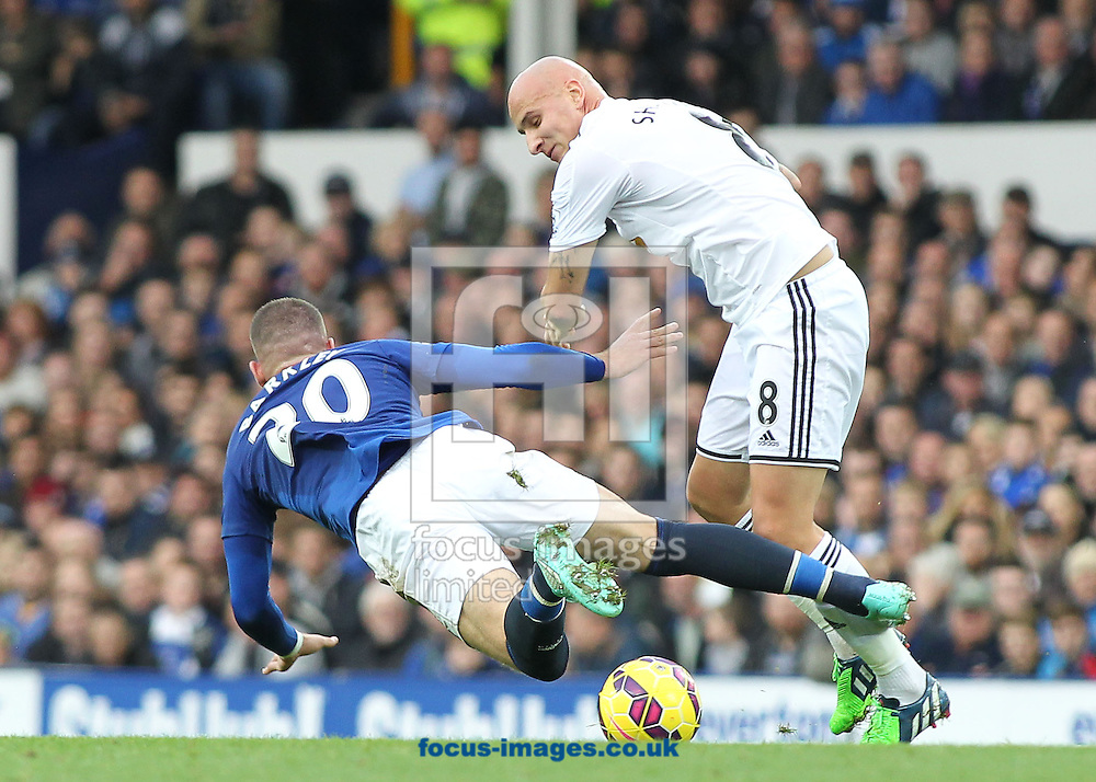 Ross Barkley of Everton and Jonjo Shelvey of Swansea City in action during the Barclays Premier League match at Goodison Park, Liverpool.<br /> Picture by Michael Sedgwick/Focus Images Ltd +44 7900 363072<br /> 01/11/2014
