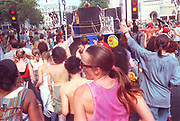 Ravers protesting on the streets of London.2nd Criminal Justice March, Victoria, London, UK, 23rd of July 1994.