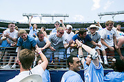 05/25/2014 - Baltimore, Md. - Tufts fans celebrate with the team after their 12-9 win over Salisbury to win the NCAA Division III Men's Lacrosse National Championship game at M&T Bank Stadium on May 25, 2014. (Kelvin Ma/Tufts University)