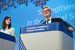 April 26, 2018 - Brussels, Bxl, Belgium - European Commissioner for Digital Economy and Society Mariya Gabriel (L) and Julian King, European Commissioner for Security Union, British hold a press conference on the Commission initiatives to tackle the spread of disinformation online and to increase transparency and fairness between platforms and businesses at European Commission headquarters in Brussels, Belgium on 26.04.2018 by Wiktor Dabkowski (Credit Image: © Wiktor Dabkowski via ZUMA Wire)
