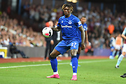 Everton forward Moise Kean (27) looks to release the ball  during the Premier League match between Aston Villa and Everton at Villa Park, Birmingham, England on 23 August 2019.