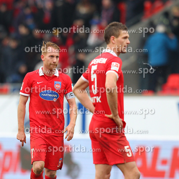 01.03.2015, Voith-Arena, Heidenheim, GER, 2. FBL, 1. FC Heidenheim 1846 vs Fortuna D&uuml;sseldorf, 23. Runde, im Bild Marc Schnatterer (1.FC Heidenheim) rechts Mathias Wittek (1.FC Heidenheim) nach der Niederlage // during the 2nd German Bundesliga 23rd round match between 1. FC Heidenheim 1846 vs Fortuna D&uuml;sseldorf at the Voith-Arena in Heidenheim, Germany on 2015/03/01. EXPA Pictures &copy; 2015, PhotoCredit: EXPA/ Eibner-Pressefoto/ Langer<br /> <br /> *****ATTENTION - OUT of GER*****