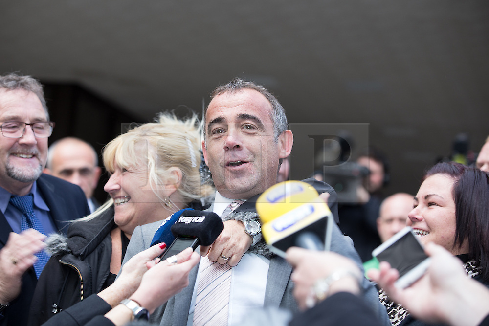 © Licensed to London News Pictures . 10/09/2013 . Manchester , UK . MICHAEL LE VELL (aka Michael Turner ) speaks on the steps of Manchester Crown Court this afternoon (Tuesday 10th September 2013) after being cleared of all charges . The actor , who plays mechanic Kevin Webster in Coronation Street , was charged with a series of offences including rape , sexual activity with a child and indecent assault . Photo credit : Joel Goodman/LNP