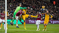 Football - 2018 / 2019 Premier League - West Ham United vs. Brighton & Hove Albion<br /> <br /> Lukasz Fabianski (West Ham United) punches clear shortly conceding the first goal at the London Stadium<br /> <br /> COLORSPORT/DANIEL BEARHAM