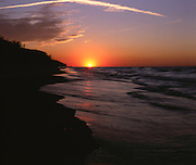 BB07035-01...INDIANA - Sunset over Lake Michigan from Indiana Dunes National Lakeshore.