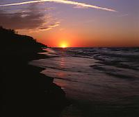 BB07035-01...INDIANA - Sunset over Lake Michigan from Indiana Dunes National Lakeshore.